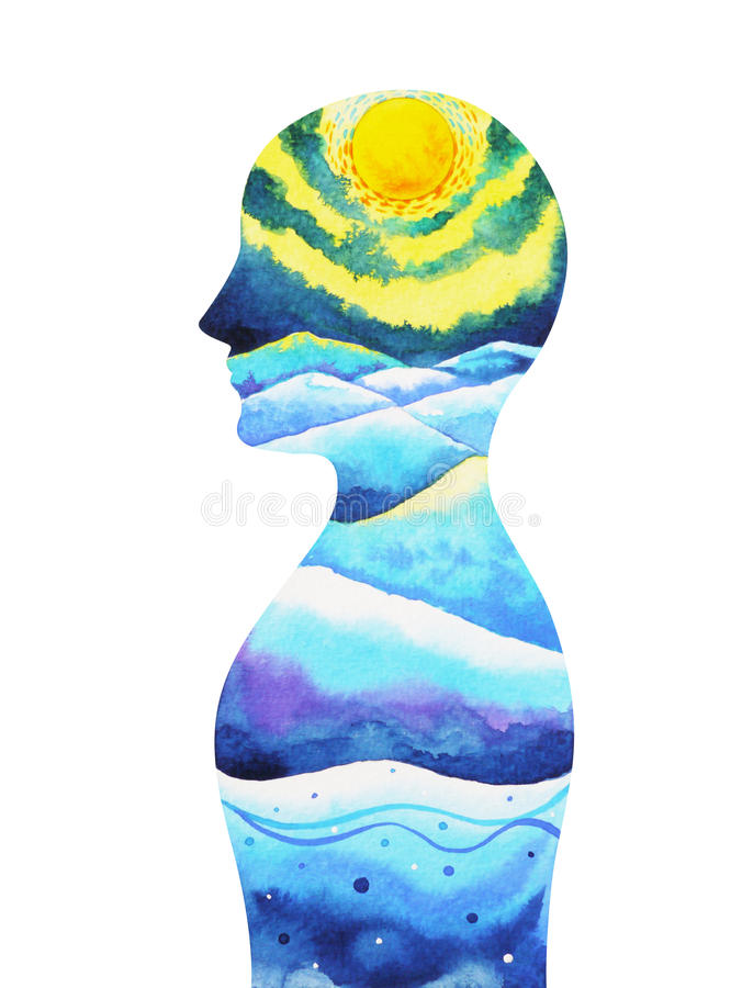 Human head, chakra power, inspiration abstract thinking, world, universe inside your mind. Watercolor painting royalty free illustration