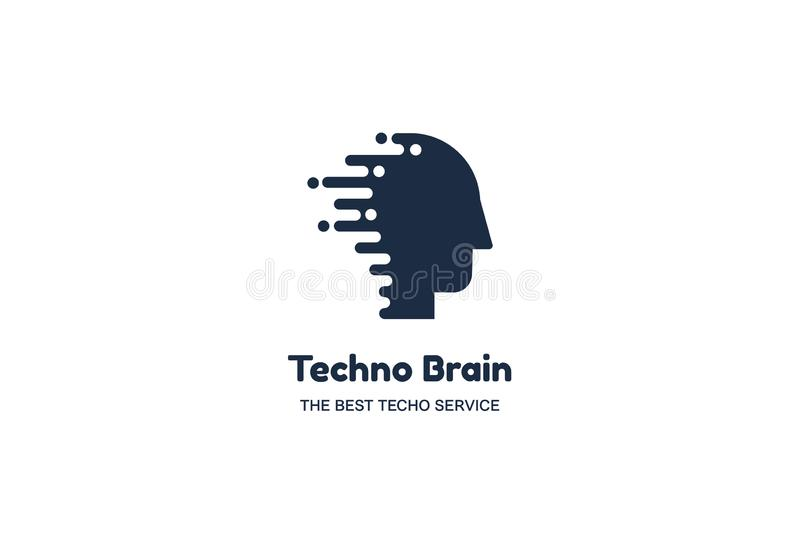 Human Head and Chip Techno Brain Multimedia Logo. People Computer Microchip Creative Idea Sign. Innovation Technology and Digital Modern Communication. Concept stock illustration