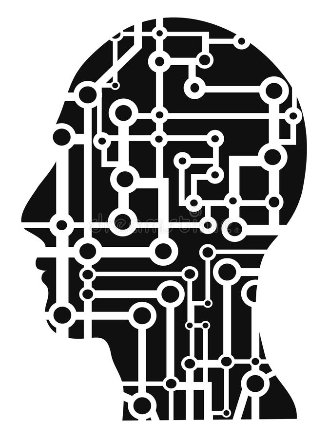 Human head circuit. Isolated human head circuit from white background vector illustration