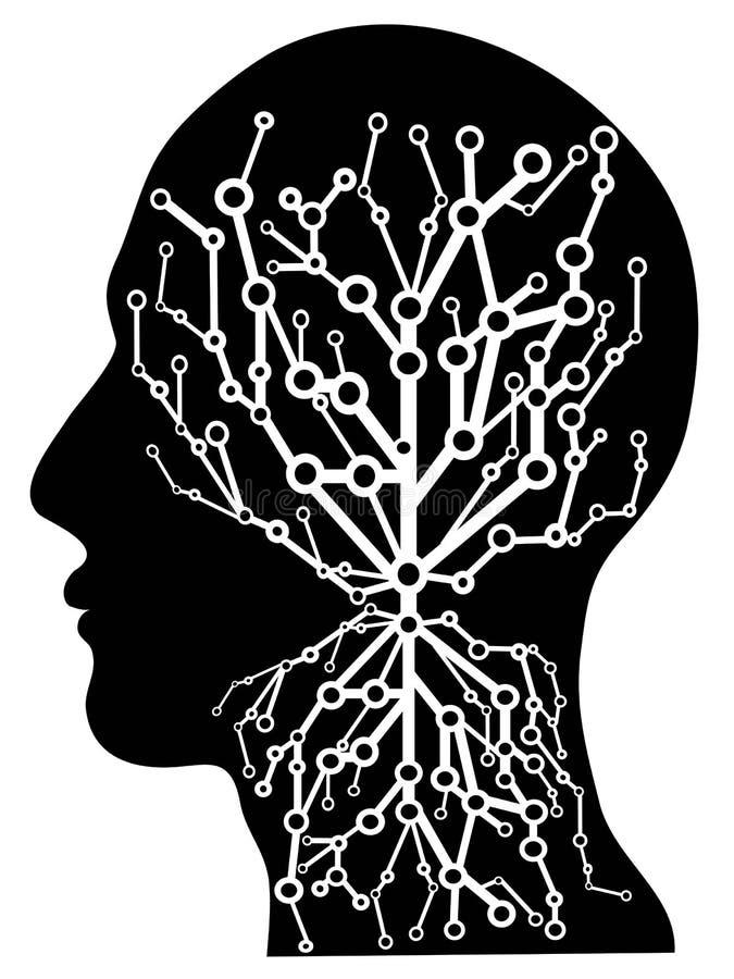 Human head with circuit tree vector illustration