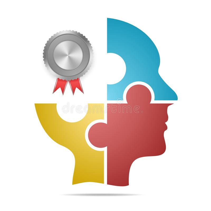 The human head composed of colored puzzle pieces with silver labels and red ribbons and gray shadow below the head on a white back stock illustration
