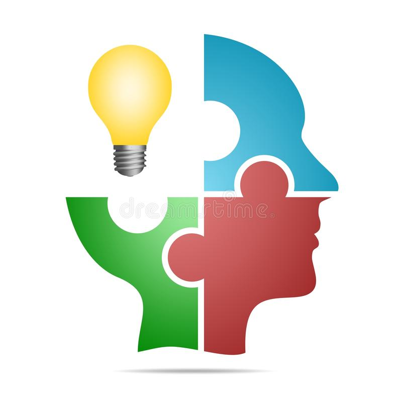 The human head composed of colored puzzle pieces with yellow bulb with gray shadow below the head on a white background. Human hea stock illustration