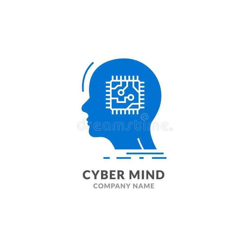 Human head cyber mind digital technology. Cyber brain logo future tech face, Robot artificial intelligence vector illustration