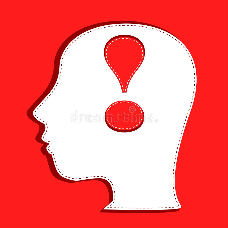Human head with exclamation mark symbol stock illustration