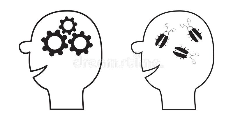 Human head face icon. Black line silhouette. Gears wheels inside brain. Team work business concept. Cockroach bugs. Thinking vector illustration