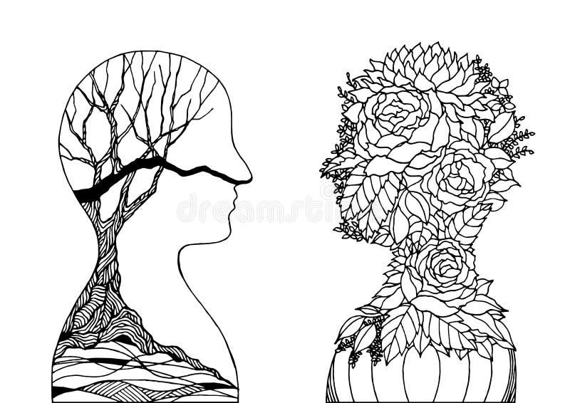 Human head flower and dry tree, spring autumn spirit power energy  abstract art illustration design hand drawn. Human head flower and dry tree, spring autumn stock illustration