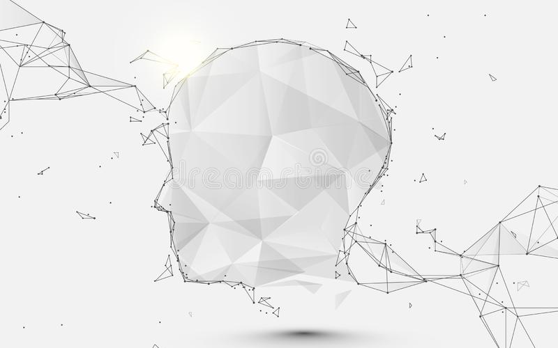 Human head form lines, triangles and particle style design. Illustration vector stock illustration