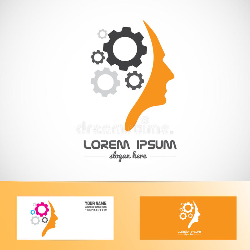 Human head gear idea concept logo. Vector company logo element template of human head brain shape with gears idea concept innovation genius vector illustration