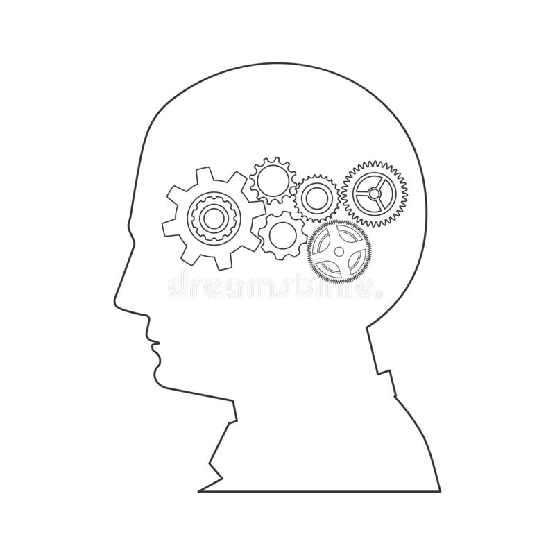Head and gear wheels, creative builder concept. Human head and gear wheels icon on white background, creative builder concept vector illustration