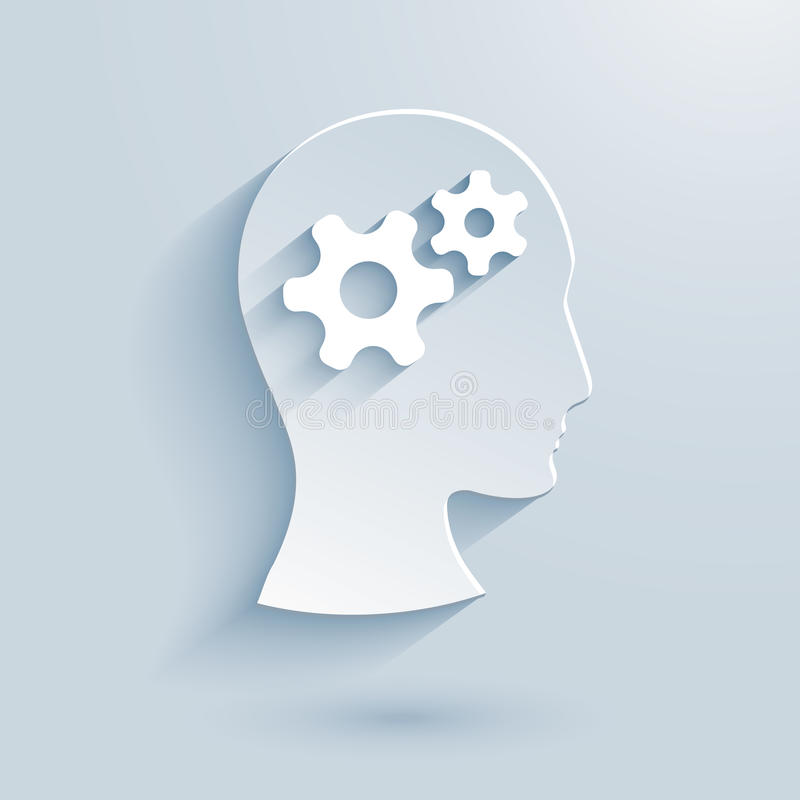 Human head with gears paper icon stock illustration