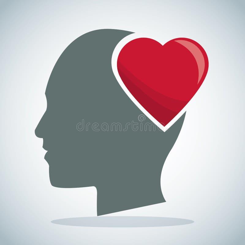 Human head heart brain stock illustration