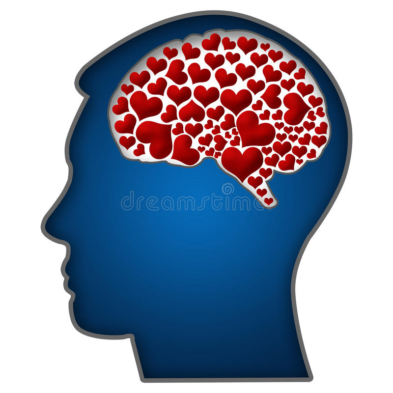 Human Head with Hearts In Brain. Human head shape in blue with red hearts in brain stock illustration