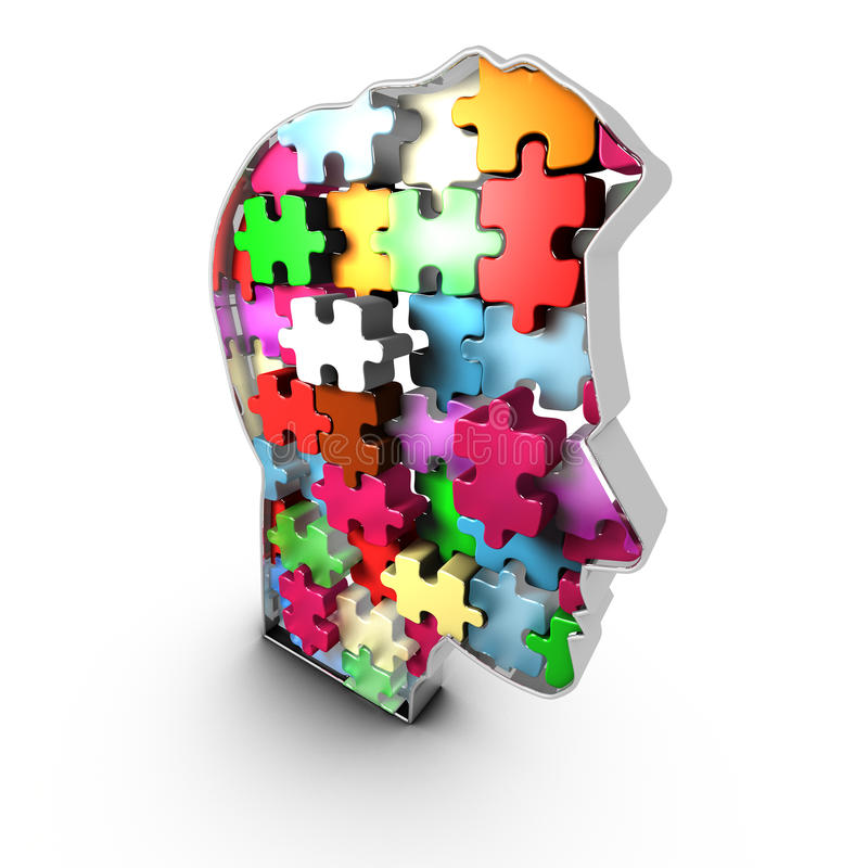 Human Head Infrastructure, Interacting Bricks That Create Mind Royalty Free Stock Images