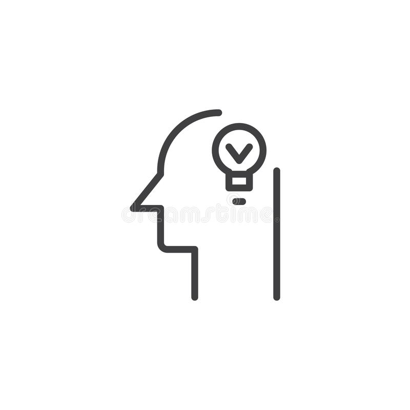 Human head with lamp outline icon vector illustration
