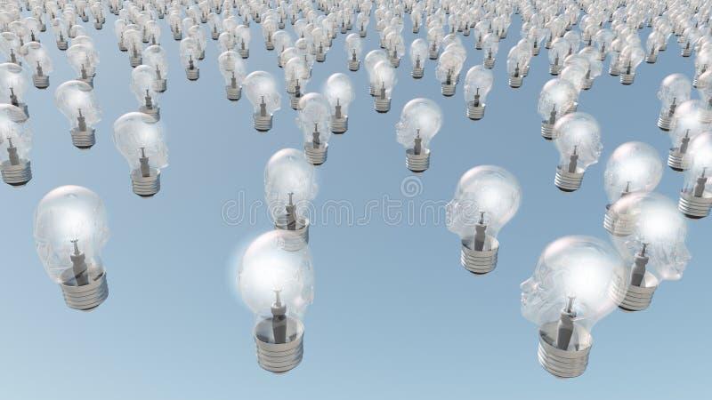 Human head lightbulbs