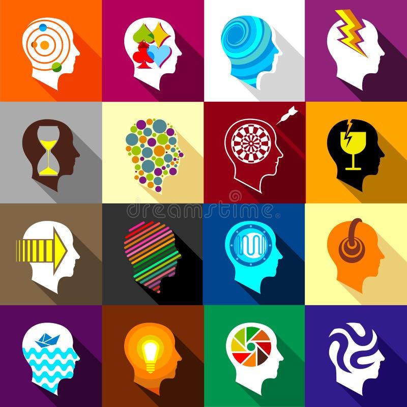 Human head logos icons set, flat style. Human head logos icons set. Flat illustration of 16 Human head logos vector icons for web vector illustration