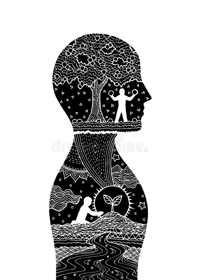Human head man inside planting tree invert color  abstract art illustration design hand drawn. Human head man inside planting tree invert color  abstract art royalty free illustration