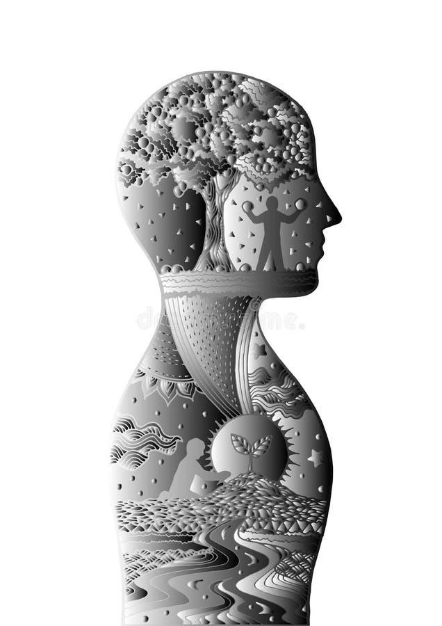 Human head man inside planting tree invert color  abstract art illustration design hand drawn. Human head man inside planting tree invert color  abstract art stock illustration