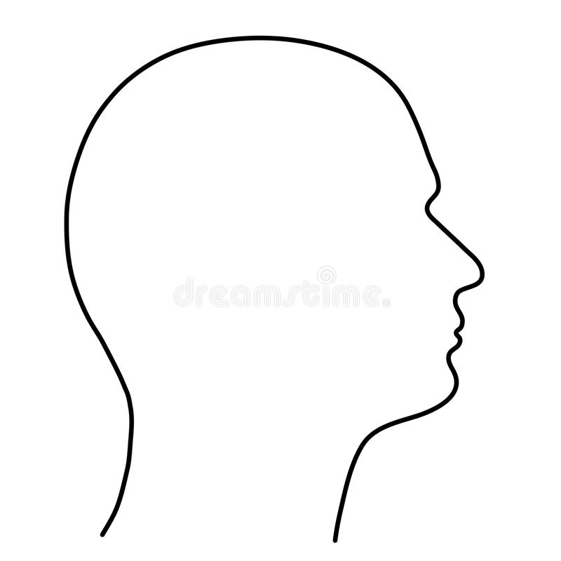Human head of a man, the outline of black lines on a white background. Vector illustration. royalty free illustration