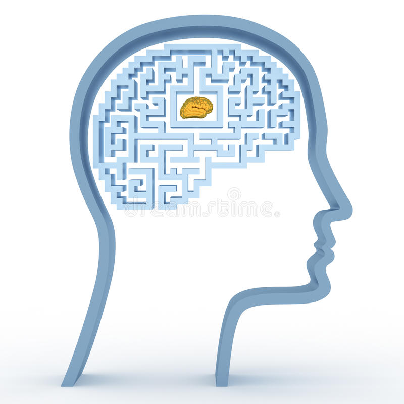 Human head with a maze and brain stock illustration