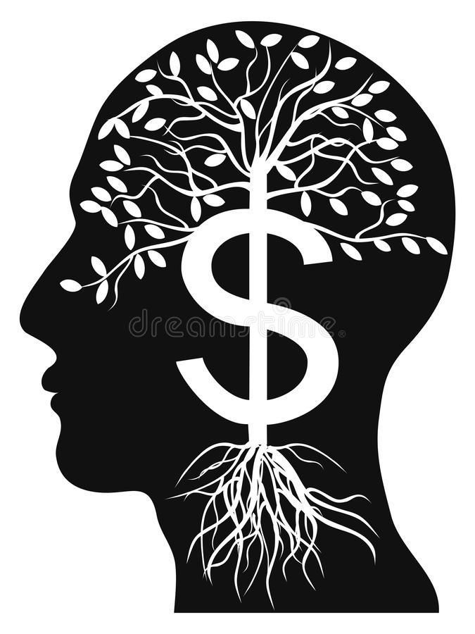 Human head money tree royalty free illustration