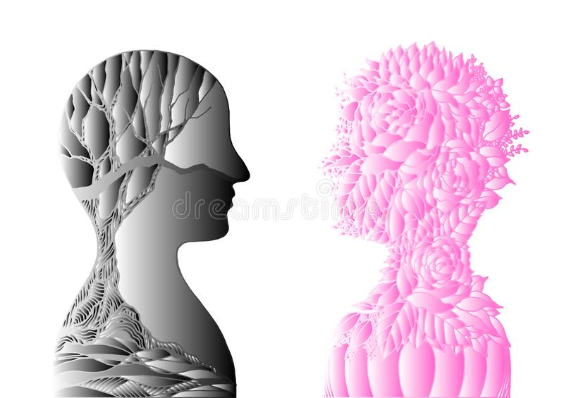 Human head pink flower and black dry tree, spring autumn  abstract art illustration design hand drawn. Human head pink flower and black dry tree, spring autumn stock illustration