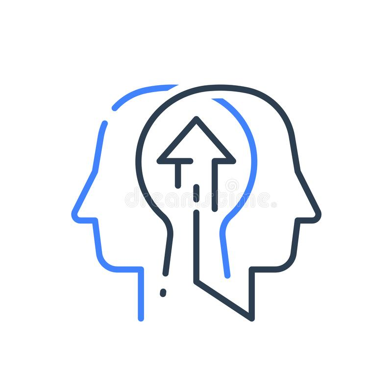 Human head profile and arrow, growth mindset, potential development, leadership education concept. Human head profile and arrow line icon, growth mindset royalty free illustration