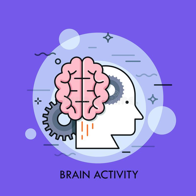 Human head profile, brain and gear wheels. Concept of intellectual or mental activity, intelligence, creative or stock illustration