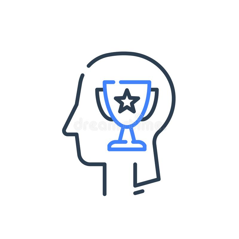 Human head profile and cup, motivation concept, leadership training course, employee of the month. Winner trophy, personal perfection or superiority, vector vector illustration