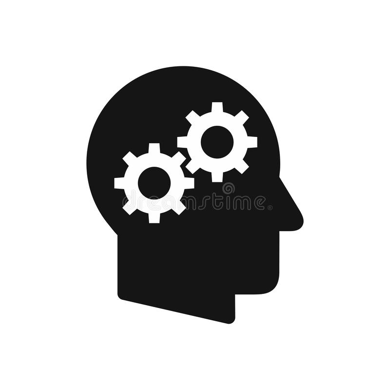 Human head profile with gear wheels symbol, thinking process simple black icon royalty free illustration