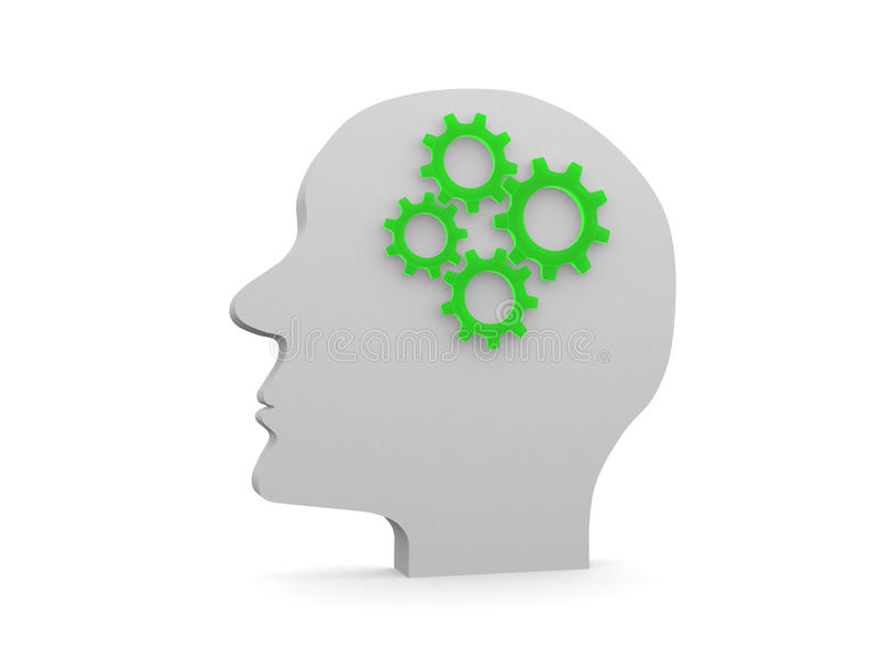 Human head profile with gears royalty free stock photography