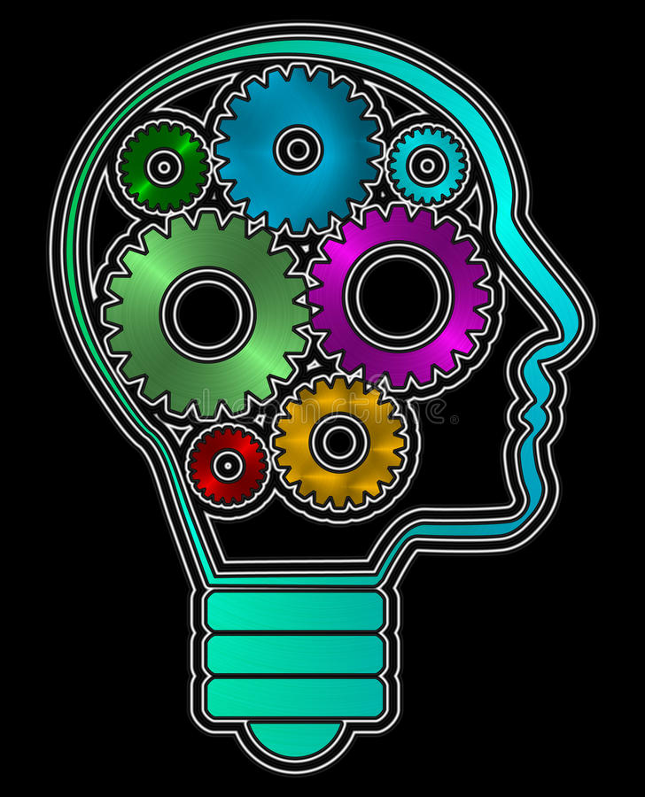 A human head profile shaped bulb with inside iron gears. PNG available stock illustration