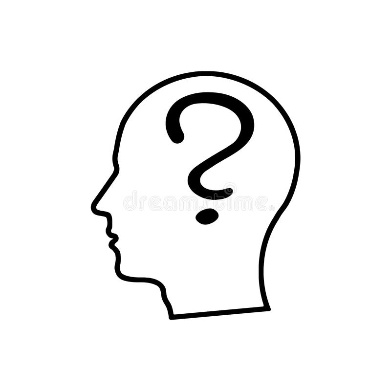 Human head with question mark outline. On white background royalty free illustration
