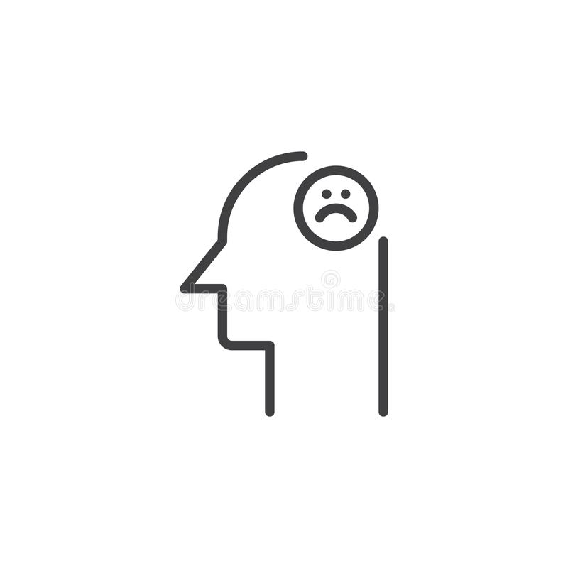 Human head with sad emoticon outline icon. Linear style sign for mobile concept and web design. Unhappy face simple line vector icon. Symbol, logo illustration stock illustration