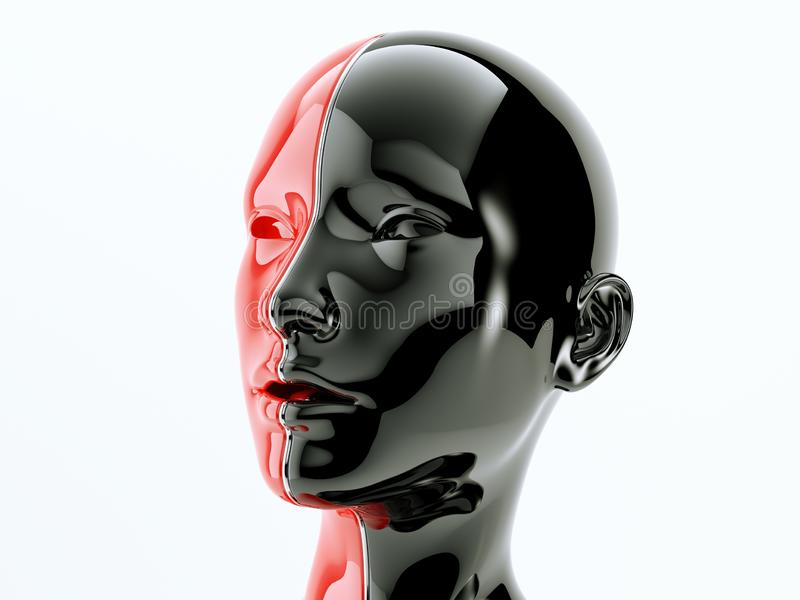 Human head separated by line as symbol of balance and diversity. Black and red human head separated by line as symbol of balance and diversity. 3d render royalty free illustration