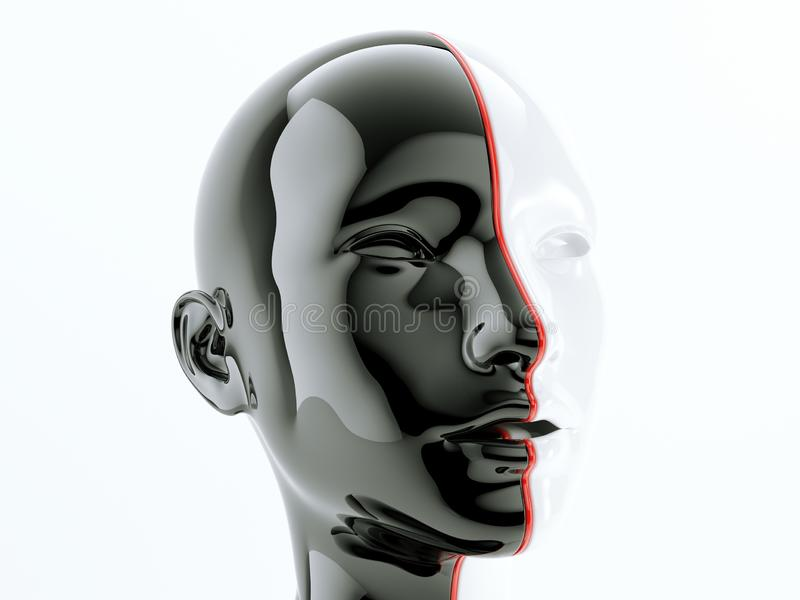 Human head separated by red line as symbol of diversity. Black and white human head separated by red line as symbol of balance and diversity, 3d render stock illustration
