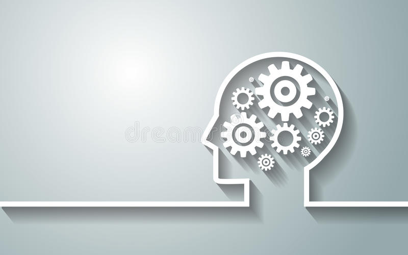 Human head with set of gears as a symbol work of brain background for your design.vector/eps10. royalty free illustration