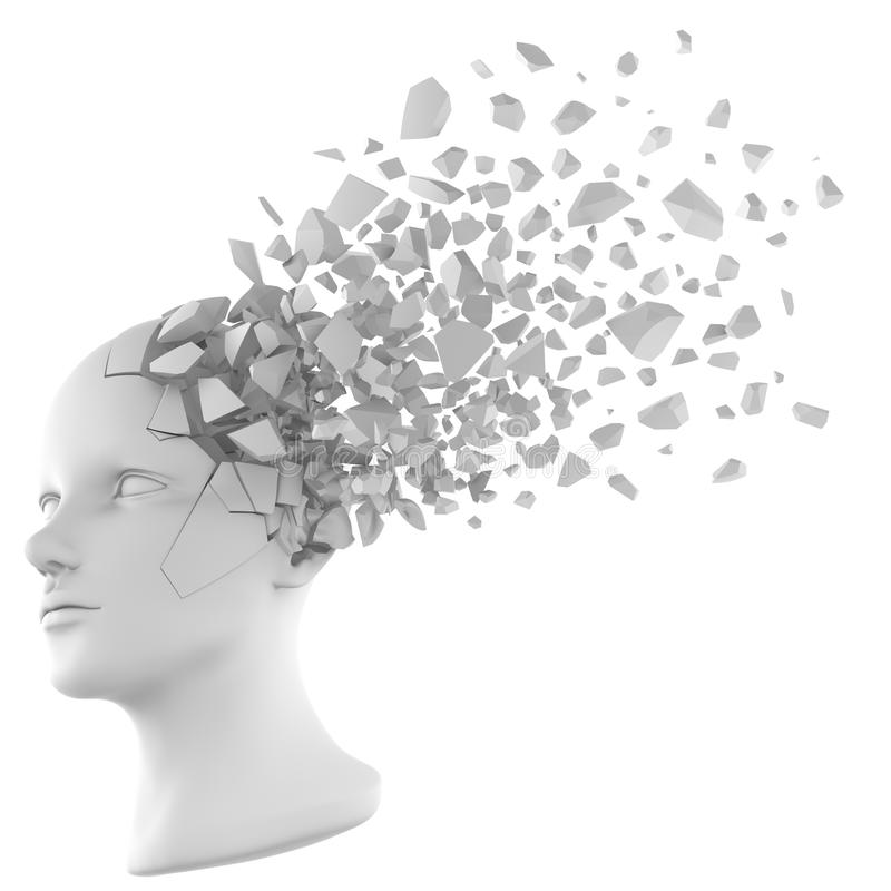 Human head shatter white royalty free illustration