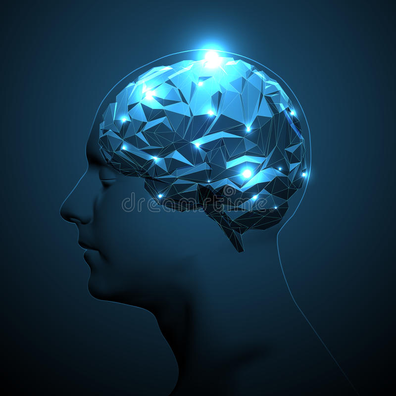 Human Head Silhouette with Active Brain. stock illustration