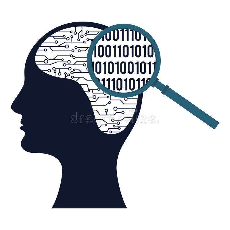 Human head silhouette with electronic circuit royalty free illustration