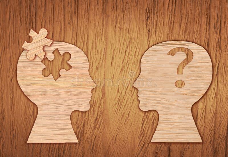 Human head silhouette, mental health symbol. Puzzle. stock photos
