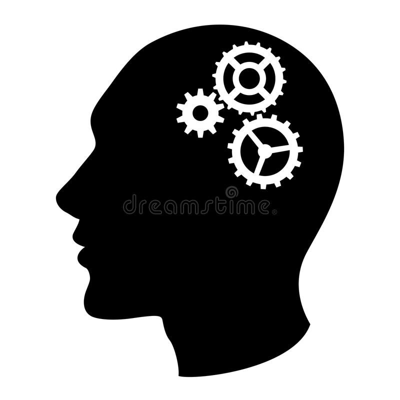 Human head silhouette with set of gears. As a brain - idea and innovation concept stock illustration