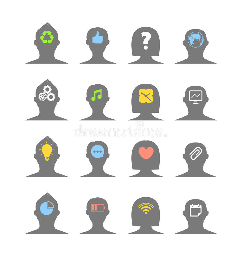 Human head silhouettes with different ideas royalty free illustration