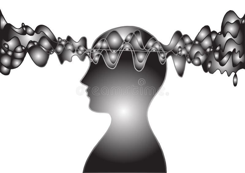 Human head spirit power energy wave  abstract art illustration design hand drawn. Human head spirit power energy wave  abstract art illustration design hand vector illustration