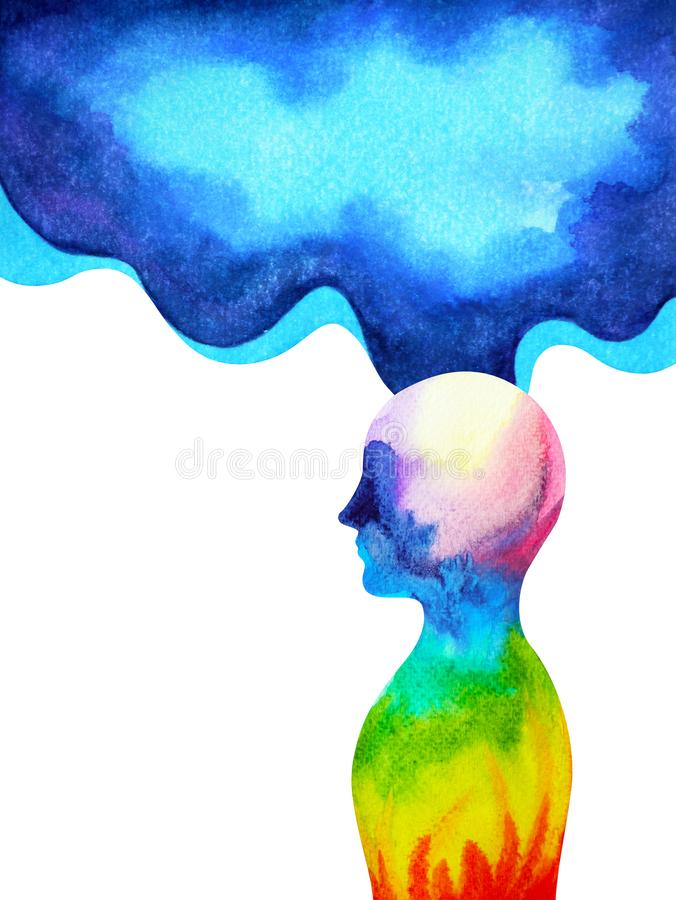 Free Human Head Spirit Powerful Energy Connect To The Universe Power Stock Image - 132310561