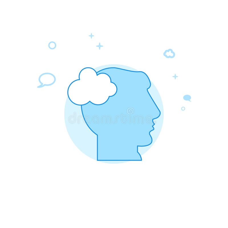 Human Head, Think Cloud Flat Vector Illustration, Icon. Light Blue Monochrome Design. Editable Stroke stock illustration