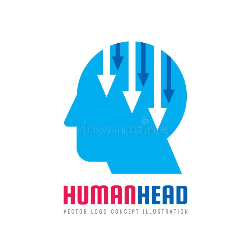 Human head vector logo concept illustration. Creative idea sign. Arrows symbol. Digital communication. Manager royalty free illustration