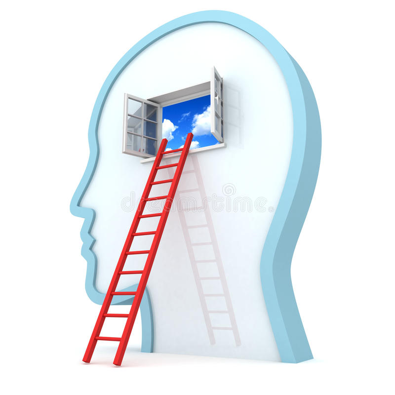 Human head withred ladder to opened sky window stock illustration