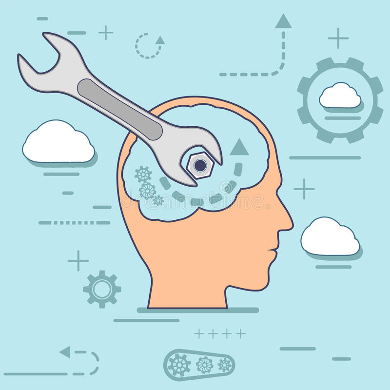 Human head and a wrench. Mental health. vector illustration