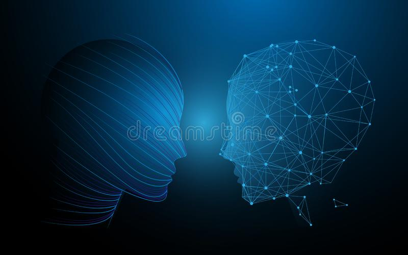 Human heads and brain functions concept, analytically vs creativity. Illustration vector stock illustration
